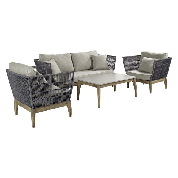 Wings 4 Piece Sofa Seating Group with Cushions by Seasonal Living