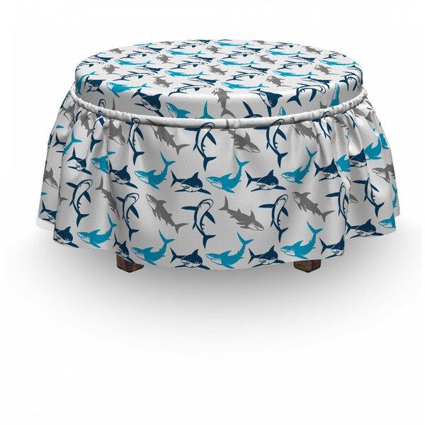Shark Dangerous Deep Seas 2 Piece Box Cushion Ottoman Slipcover Set By East Urban Home