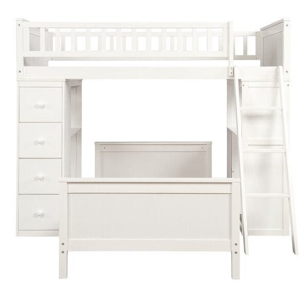 Hausman Twin over Twin L-Shaped Bunk Bed with Drawers and Shelves by Harriet Bee