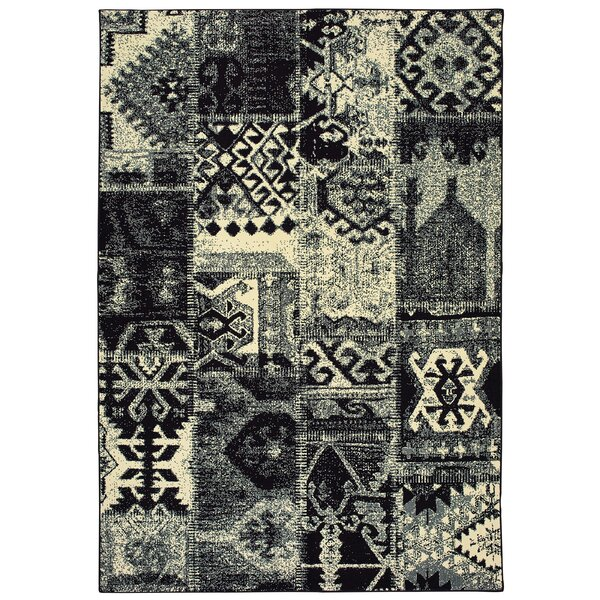 Hedden Tribal Black/Ivory Area Rug by Bloomsbury Market