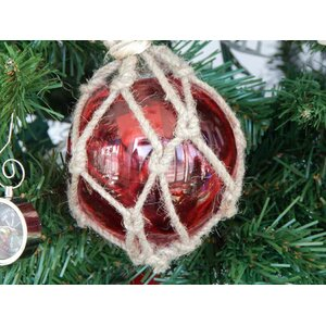 Glass and Rope Fishing Float Christmas Tree Ornament