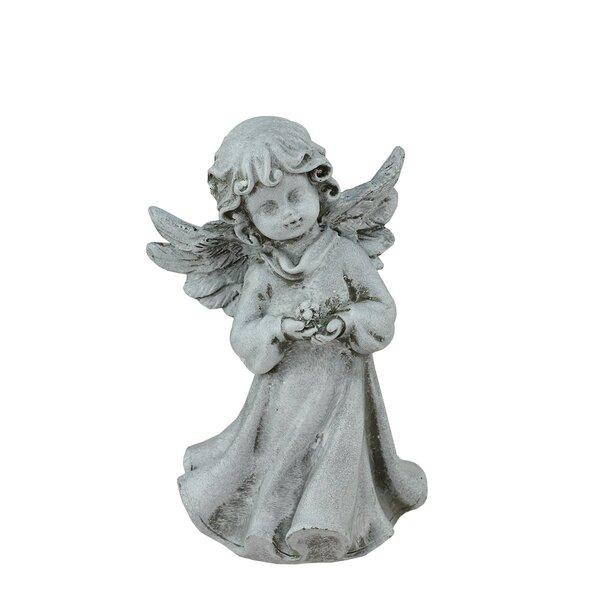 Heavenly Gardens Cherub Angel Girl with Flower Outdoor Patio Garden Statue by Northlight Seasonal