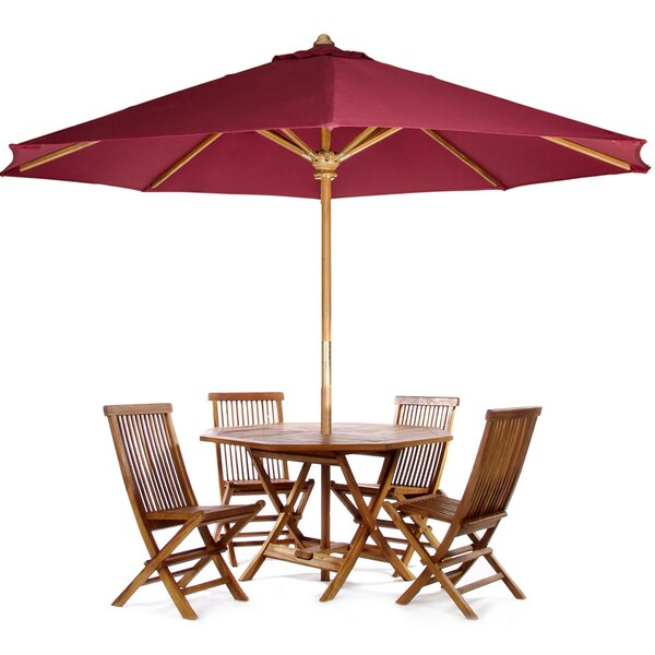 Masonville 6 Piece Teak Dining Set with Umbrella by Longshore Tides