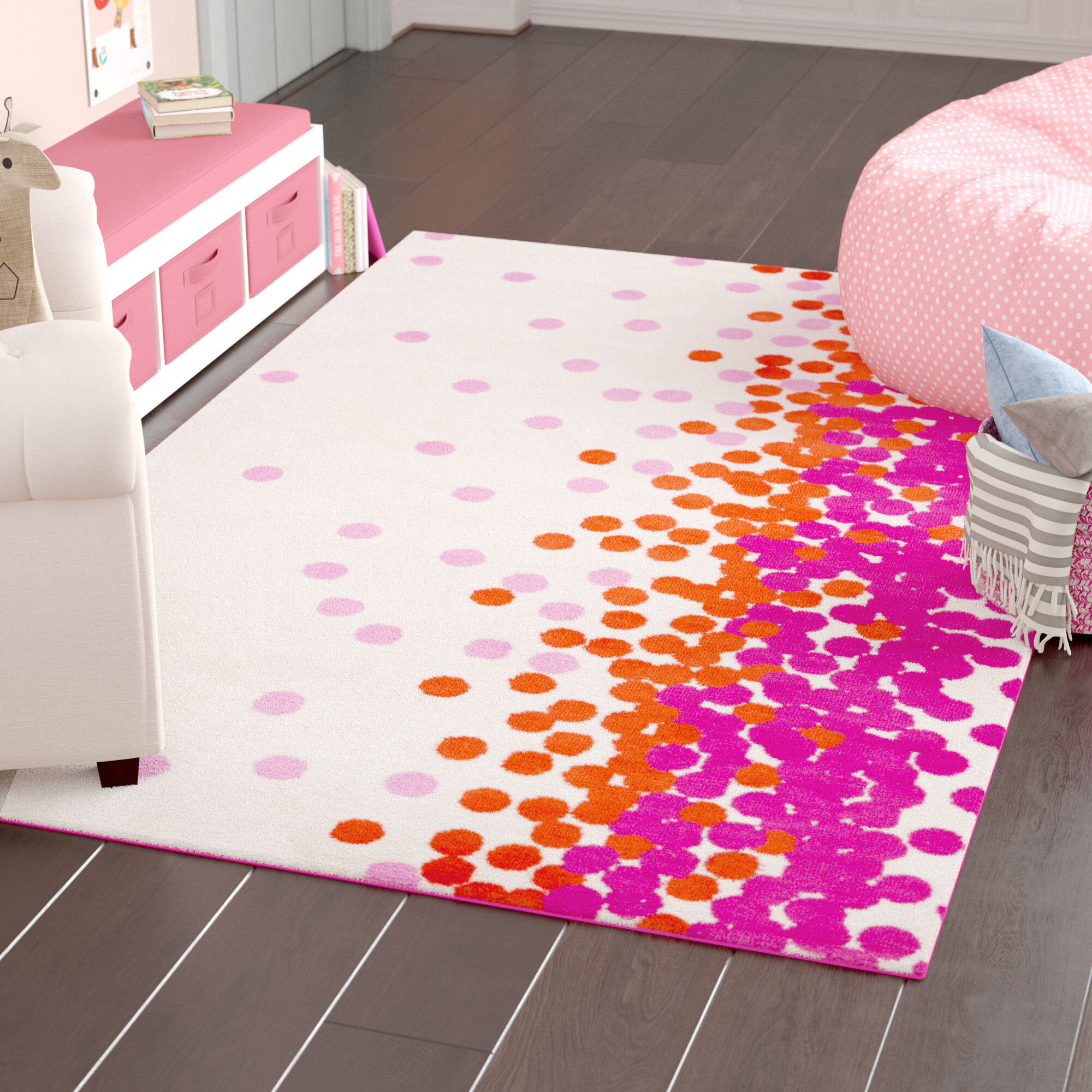 Picture of: Harriet Bee Clive Hot Pink Area Rug Reviews