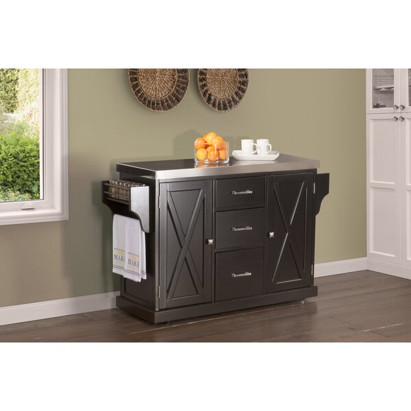 Jax Kitchen Island with Stainless Steel Top by Gracie Oaks