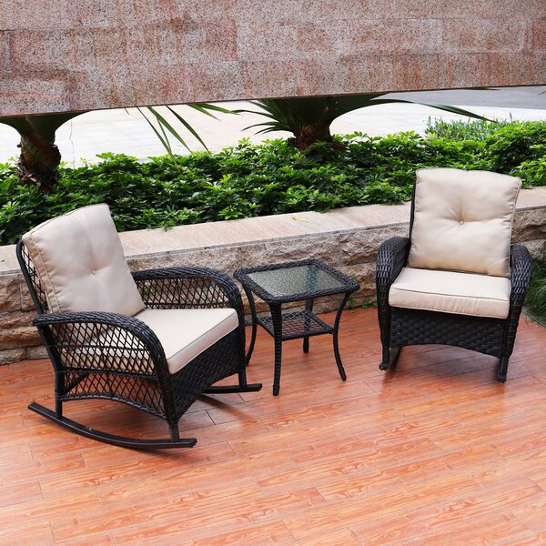 Kaeden Rocking Conversation 3 Piece Rattan Seating Group Set with Cushions by August Grove
