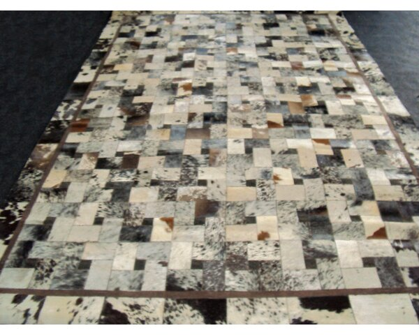 Patchwork Bordered Salt/Pepper Area Rug by Modern Rugs