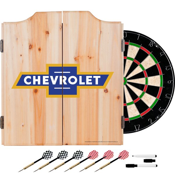 Chevy Super Service Dartboard and Cabinet Set by Trademark Global