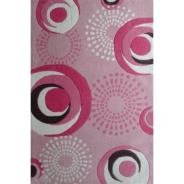 Hayter Circles Hand-Tufted Pink Area Rug by Zoomie Kids