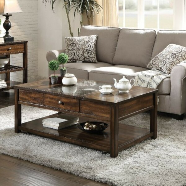 Ipswich Traditional Rectangular Glass And Wooden Lift Top Coffee Table With Storage By Darby Home Co