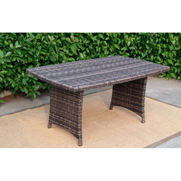 Outdoor Glass Rattan Pool Garden Rectangular Dining Table by Baner Garden