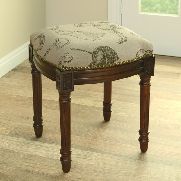 Equestrian Linen Upholstered Wooden Vanity Stool by 123 Creations