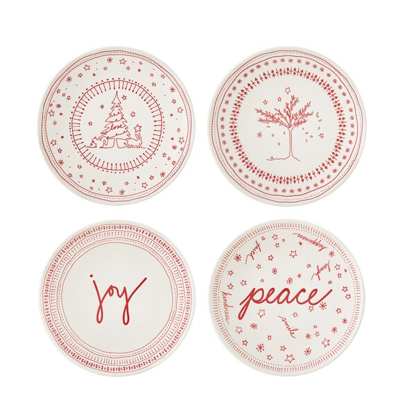 Holiday Accent 4 Piece Bread and Butter Plate Set