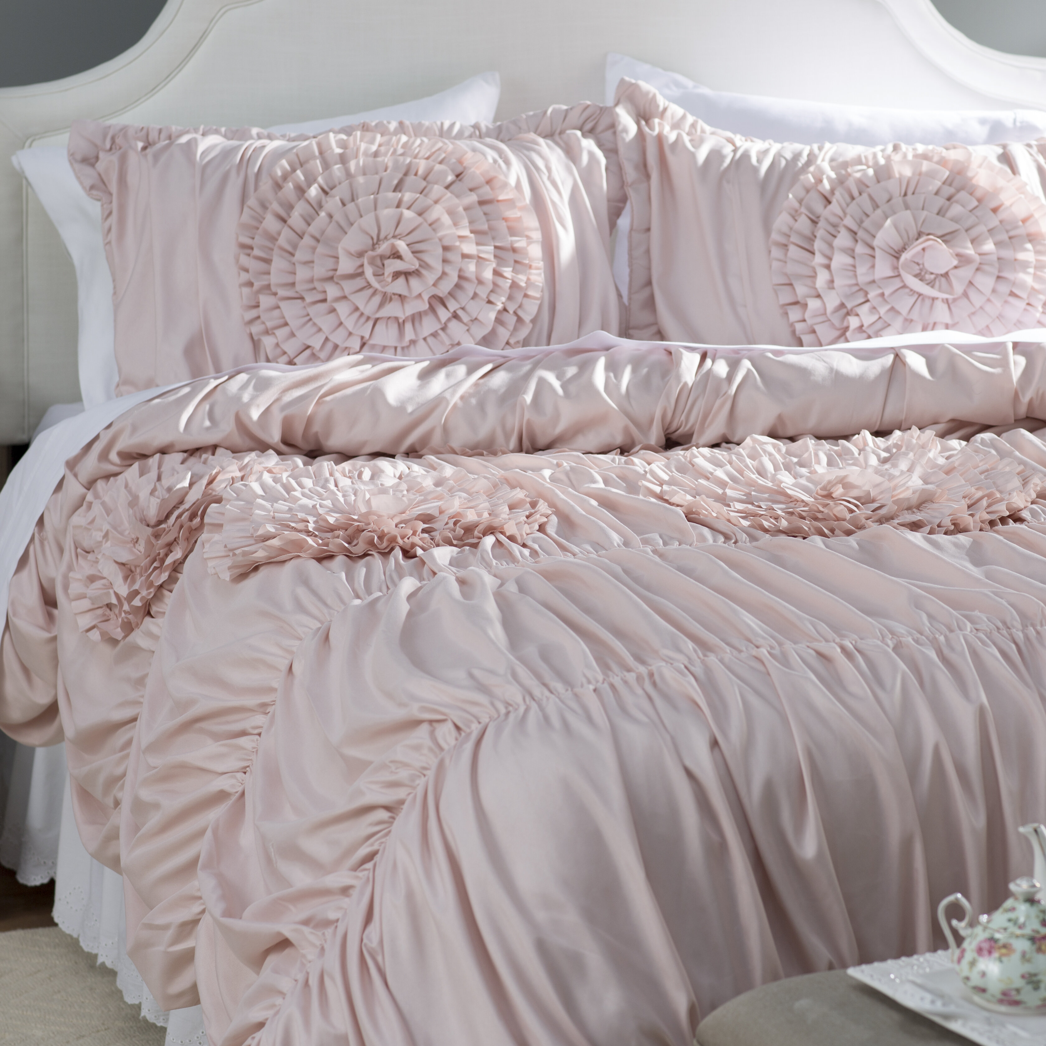 piece duvet covers embroidered with urban pintuck overstock free pink bedding set habitat today cover product bath detailing shipping callie