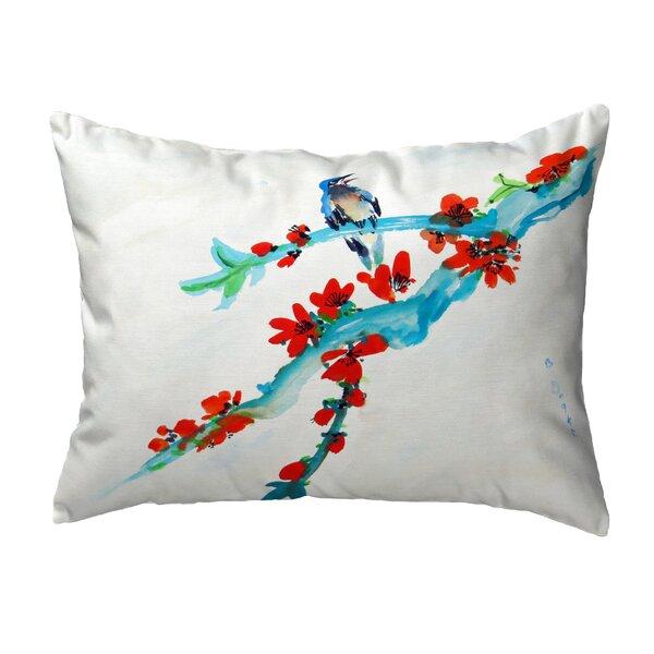 Amaranthe Buds and Bird No Cord Outdoor Lumbar Pillow