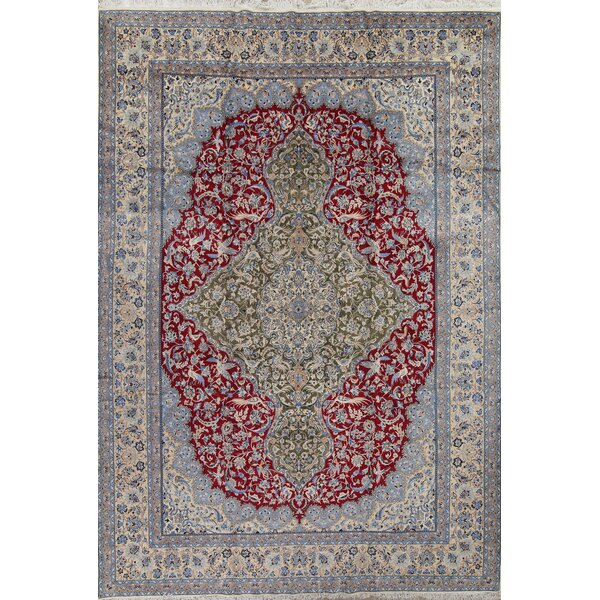 One-of-a-Kind Wilbraham Hand-Knotted Olive Green/Red 9'10 x 14'2 Wool Area Rug