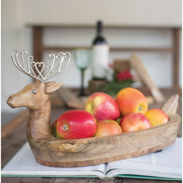 Hand Carved Mango Wood Reindeer Bowl with Metal Antlers by The Holiday Aisle