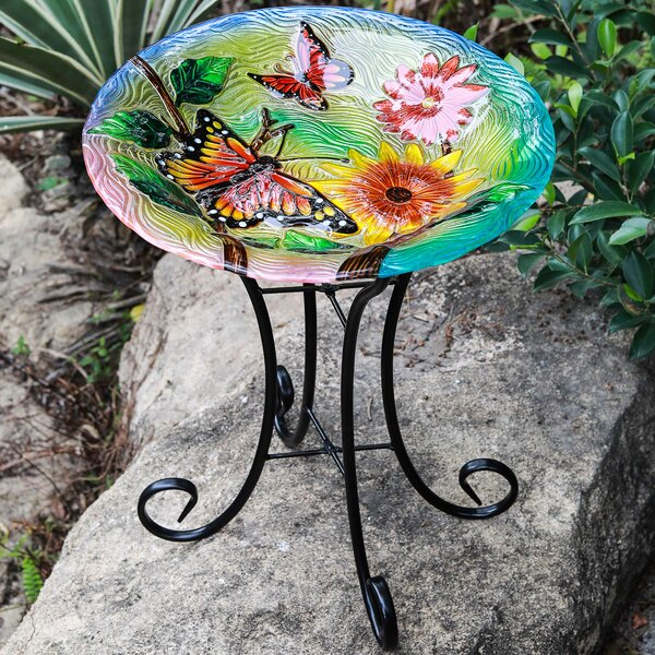 Butterflies with Flowers Birdbath by Winsome House
