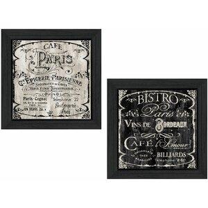 'Paris Cafe/Bistro' 2 Piece Framed Vintage Advertisement Set by Trendy Decor 4U