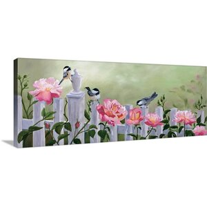 'Chickadees and Pink Roses' by Julie Peterson Painting Print on Wrapped Canvas by Great Big Canvas