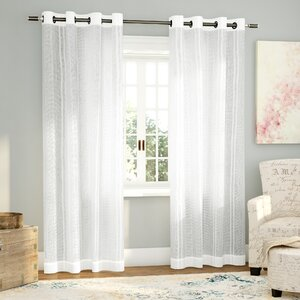 Paulin Striped Sheer Grommet Curtain Panels (Set of 2)