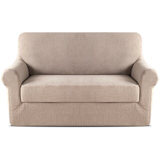 2 Piece Jacquard Stretch Fit Leather-Safe T-Cushion Loveseat Slipcover Set by Symple Stuff SKU:DB128360 Description