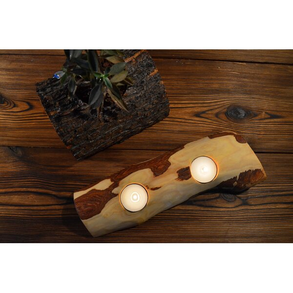 Madison Olive Wood Tealight Candle Holder by Pomegranate Solutions, LLC