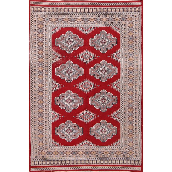 Colden Bokhara Pakistan Taditional Hand-Knotted Wool Red/Burgundy Area Rug by Bloomsbury Market