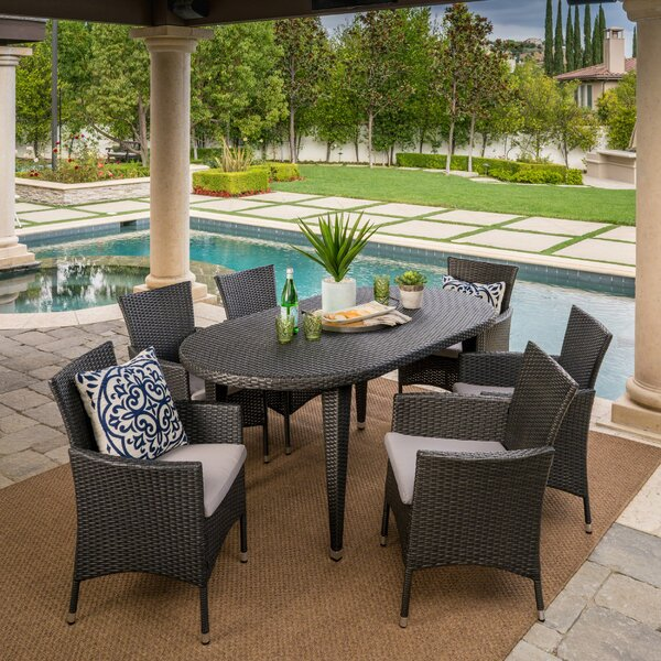 Aquinas Outdoor 7 Piece Dining Set with Cushions by Brayden Studio