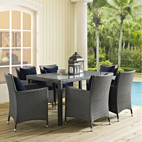 Tripp 7 Piece Dining Set with Sunbrella Cushions by Brayden Studio