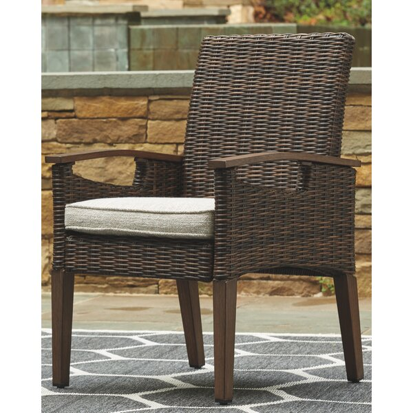 Estill Patio Dining Chair with Cushion (Set of 2) by Highland Dunes