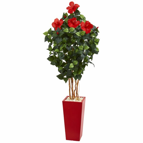 Artificial Floor Hibiscus Tree in Planter by Latitude Run