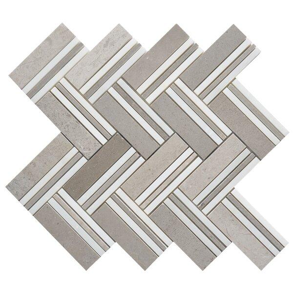 Quilt Mohegan Random Sized Marble Mosaic Tile in White/Gray by Matrix Stone USA