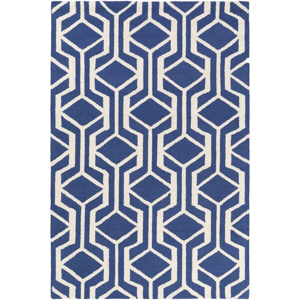 Younkin Hand-Crafted Blue/White Area Rug by George Oliver