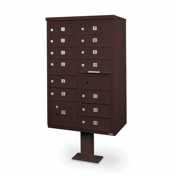 13 Door Front Load 4C Horizontal Cluster Box Unit with 2 Parcel Lockers by Postal Products Unlimited, Inc.