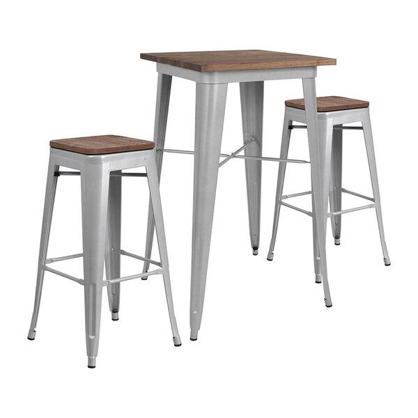 Mozingo Square 3 Piece Pub Table Set by Williston Forge