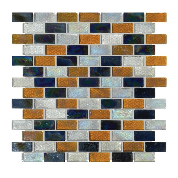 1 x 2 Glass Mosaic Tile in Gray/Orange/Black by QDI Surfaces