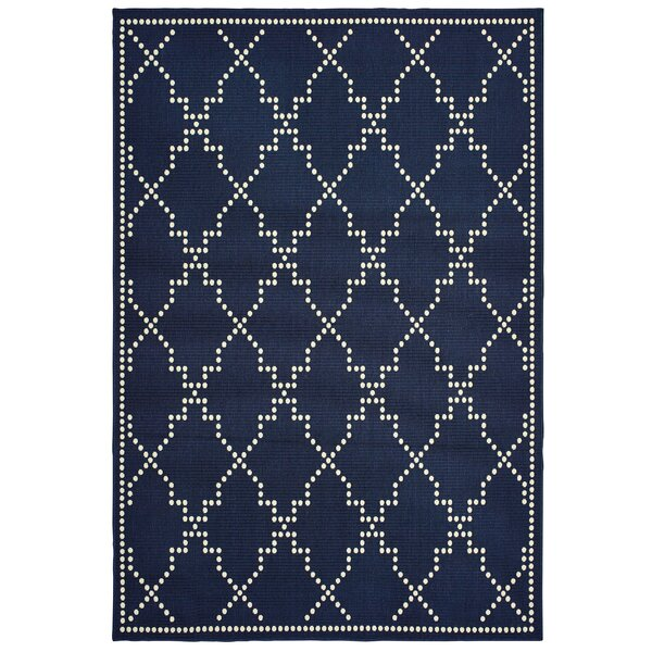 Castano Casual Navy Indoor/Outdoor Area Rug by Mercer41