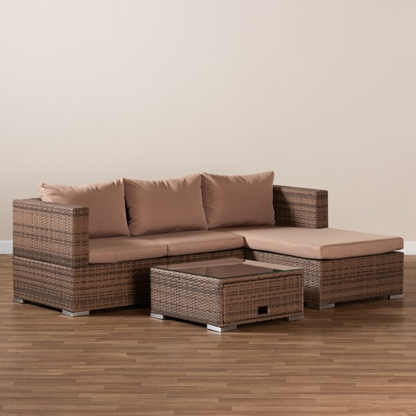 Alvieri 4 Piece Rattan Sectional Seating Group with Cushions