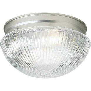 Compare prices Villalba 1-Light Flush Mount - Ribbed Glass By Winston Porter