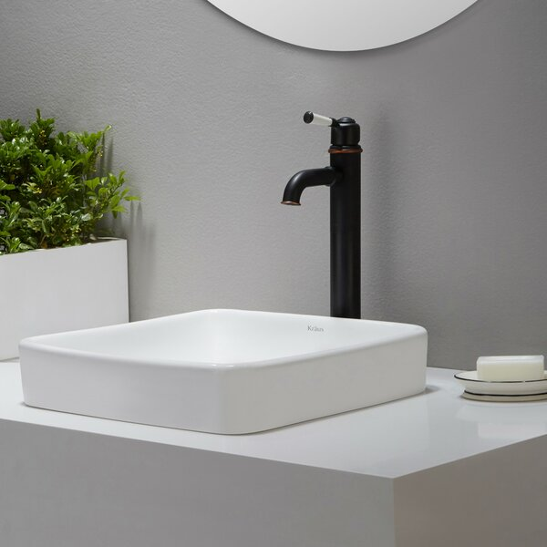 Elavo Ceramic Square Drop-In Bathroom Sink with Overflow by Kraus