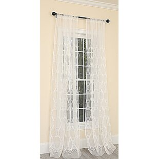 Krystal Clear Embroidered Sheer Rod Pocket Single Curtain Panel