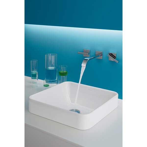 Vox Ceramic Square Vessel Bathroom Sink with Overflow by Kohler