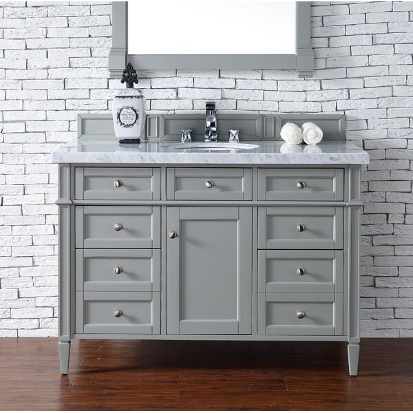 Deleon 48 Single Urban Gray Marble Top Bathroom Vanity Set by Darby Home Co
