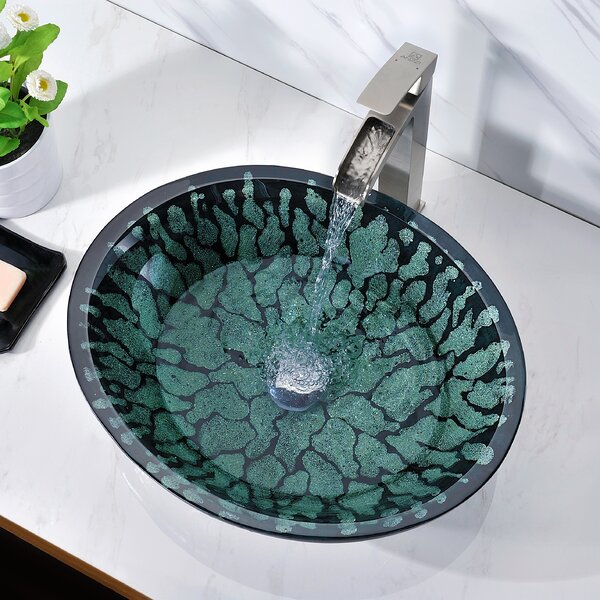 Bravo Glass Circular Vessel Bathroom Sink by ANZZI