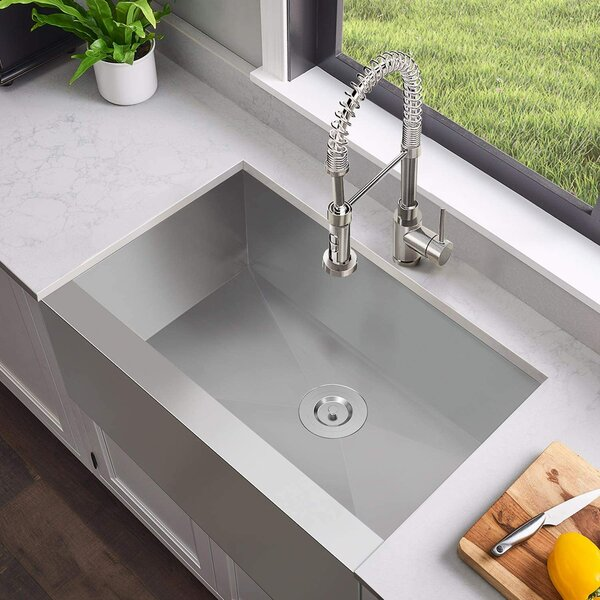 Commercial 30 L x 20 W Farmhouse/Apron Kitchen Sink with Basket Strainer