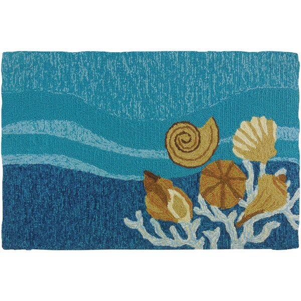 Coeymans Shell Turquoise Indoor/Outdoor Area Rug by Highland Dunes