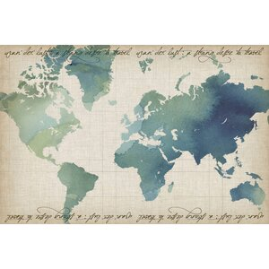 Watercolor World Map Painting Print on Wrapped Canvas by Marmont Hill