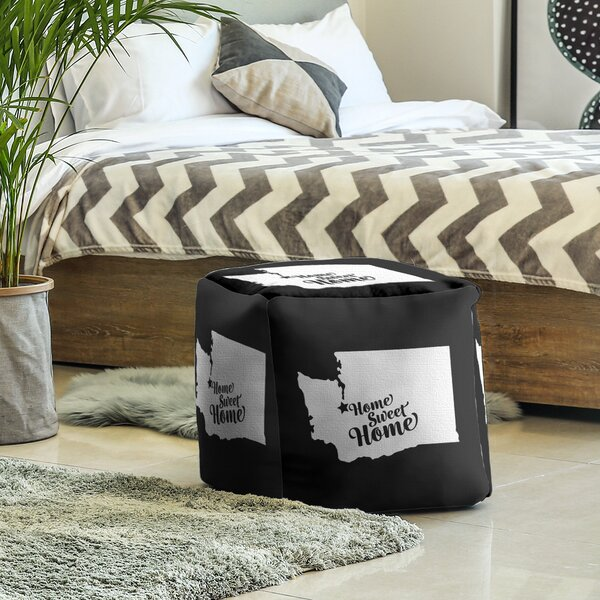 Home Sweet Tacoma Cube Ottoman by East Urban Home East Urban Home