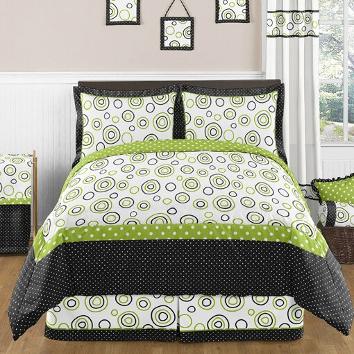 Lime And Black Spirodot 3 Piece Comforter Set By Sweet Jojo Designs.